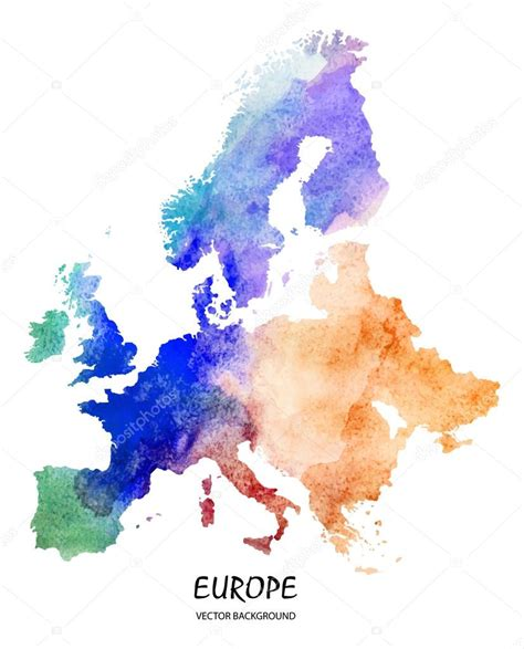 Watercolor map of Europe — Stock Vector © superson #73016411