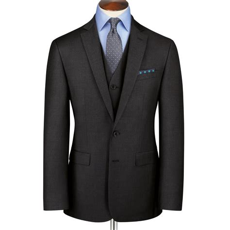 Charcoal classic fit twill business suit   Charles Tyrwhitt